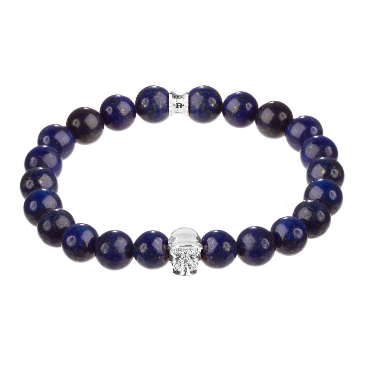 Jefferson Silver Polished Skull / 10mm Blue Gold Dumortierite Natural Stone Bracelet