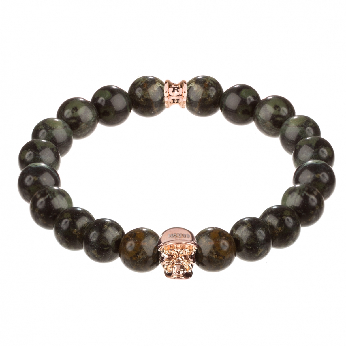 Jefferson Rose Gold Polished Skull / 10mm Green Kambaba Natural Stone Bracelet