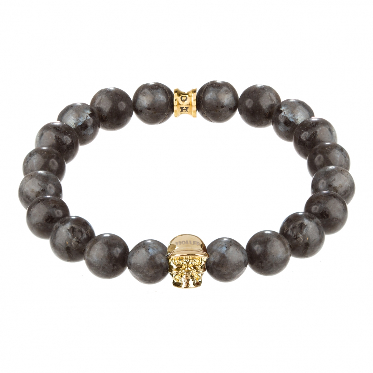 Jefferson Gold Polished Skull / 10mm Grey Natural Black Larvikite Natural Stone Bracelet