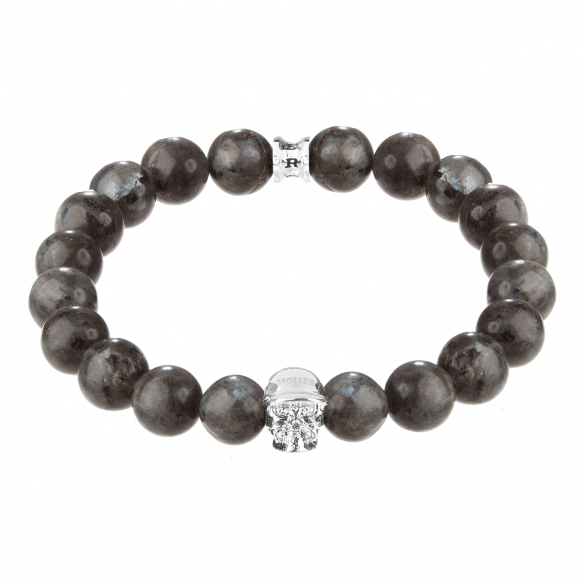 Jefferson Silver Polished Skull / 10mm Grey Natural Black Larvikite Natural Stone Bracelet
