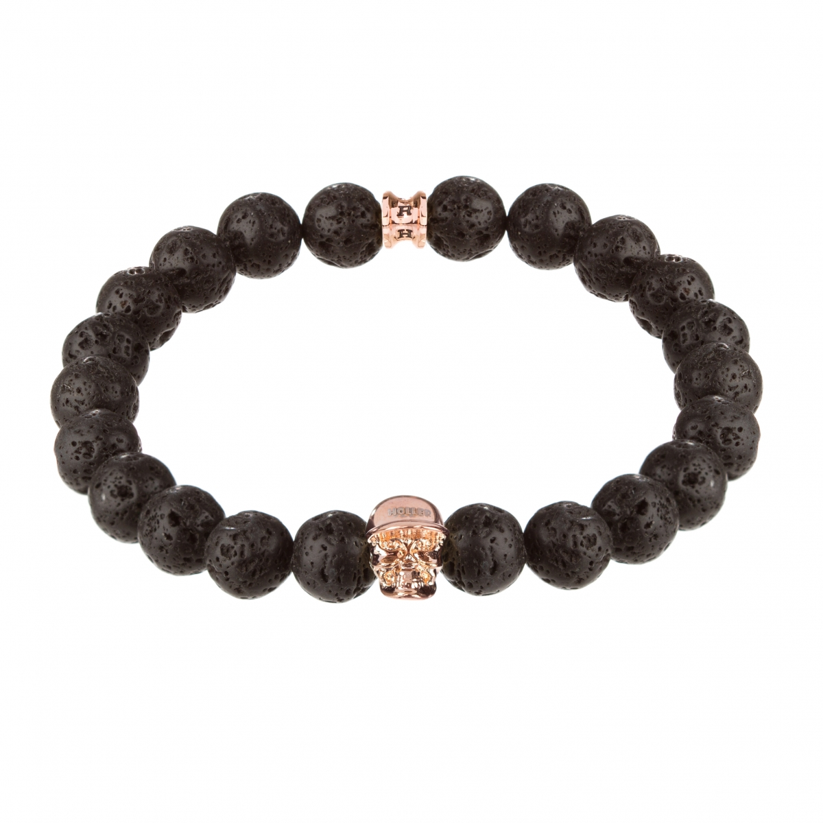 Jefferson Rose Gold Polished Skull / 10mm Lava Rock Natural Stone Bracelet