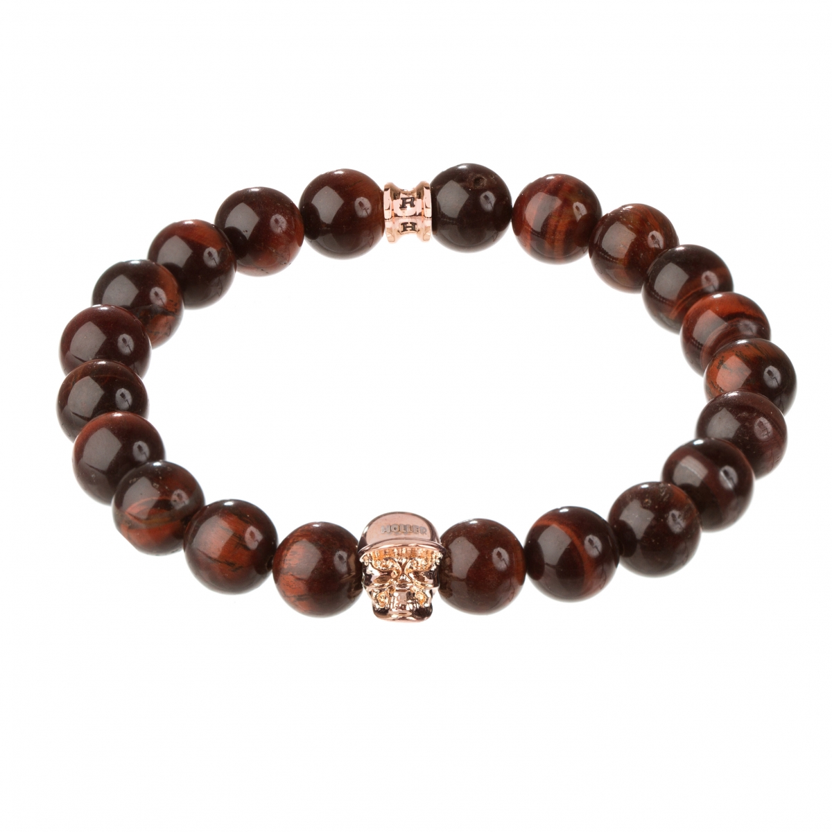 Jefferson Rose Gold Polished Skull / 10mm Red Tiger Eye Natural Stone Bracelet