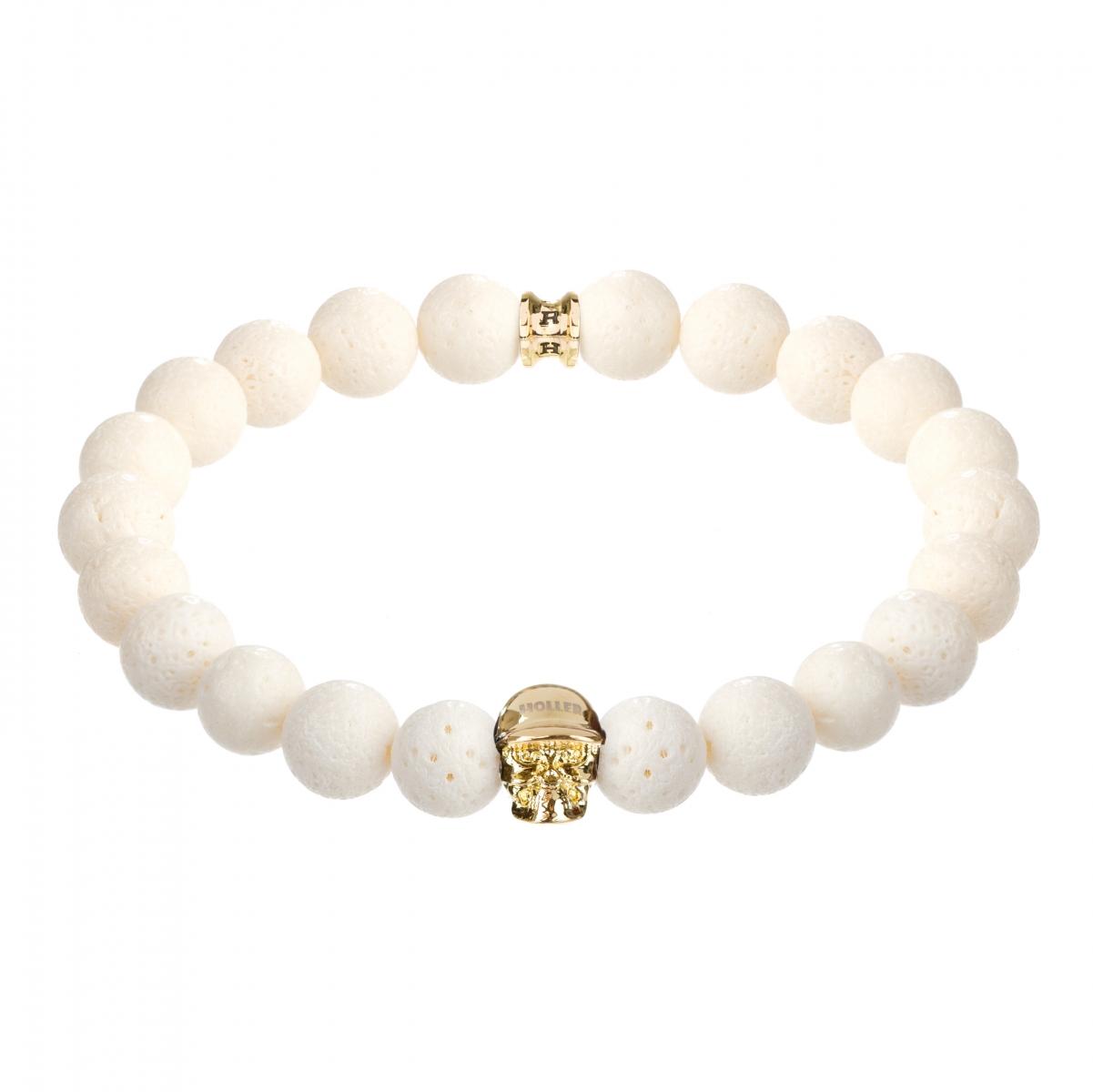 Jefferson Gold Polished Skull / 10mm White Coral Natural Stone Bracelet
