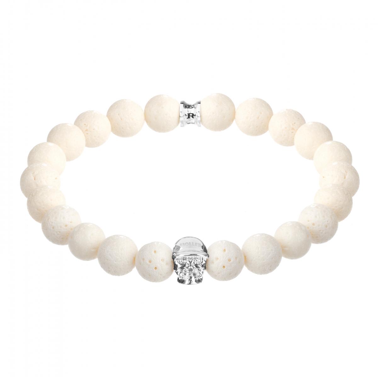 Jefferson Silver Polished Skull / 10mm White Coral Natural Stone Bracelet