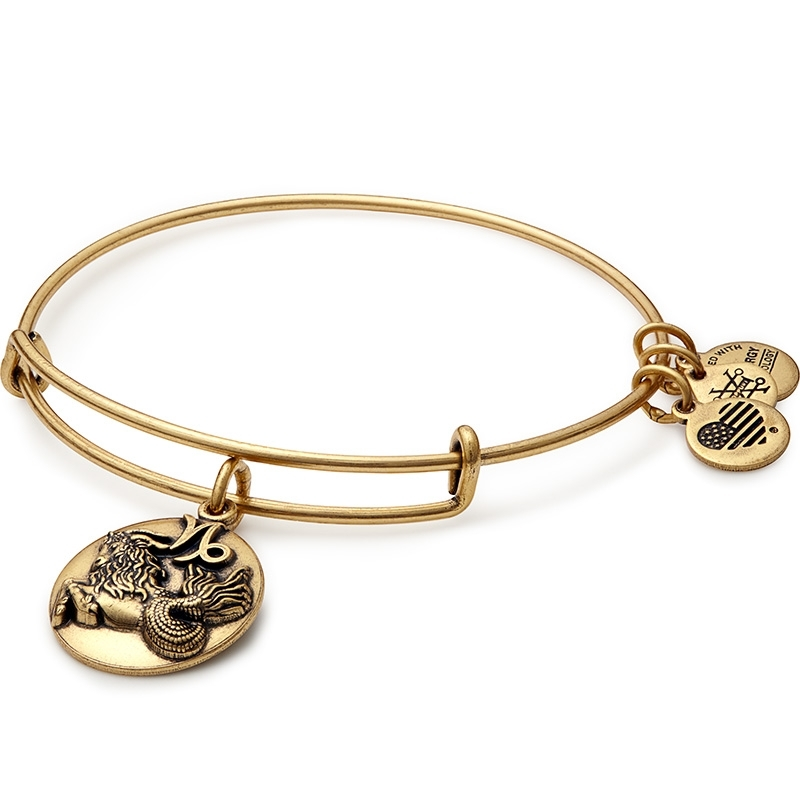 Alex and Ani Capricorn Charm Gold Bangle A16EB51RG