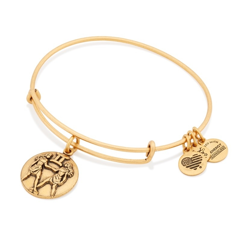 Alex and Ani Gemini Charm Gold Bangle A16EB53RG