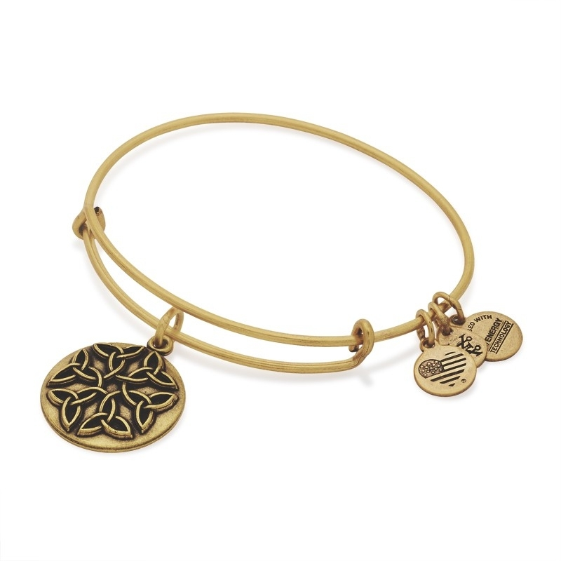 Alex and Ani Endless Knot Charm Gold Bangle A16EBEKRG