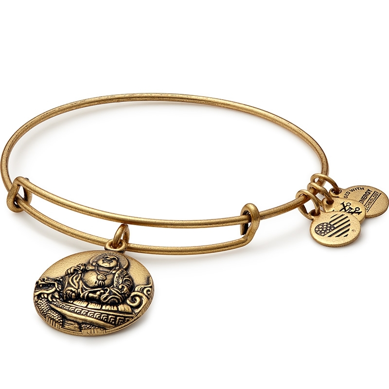 Alex and Ani Laughing Buddha Charm Gold Bangle A16EBLBRG