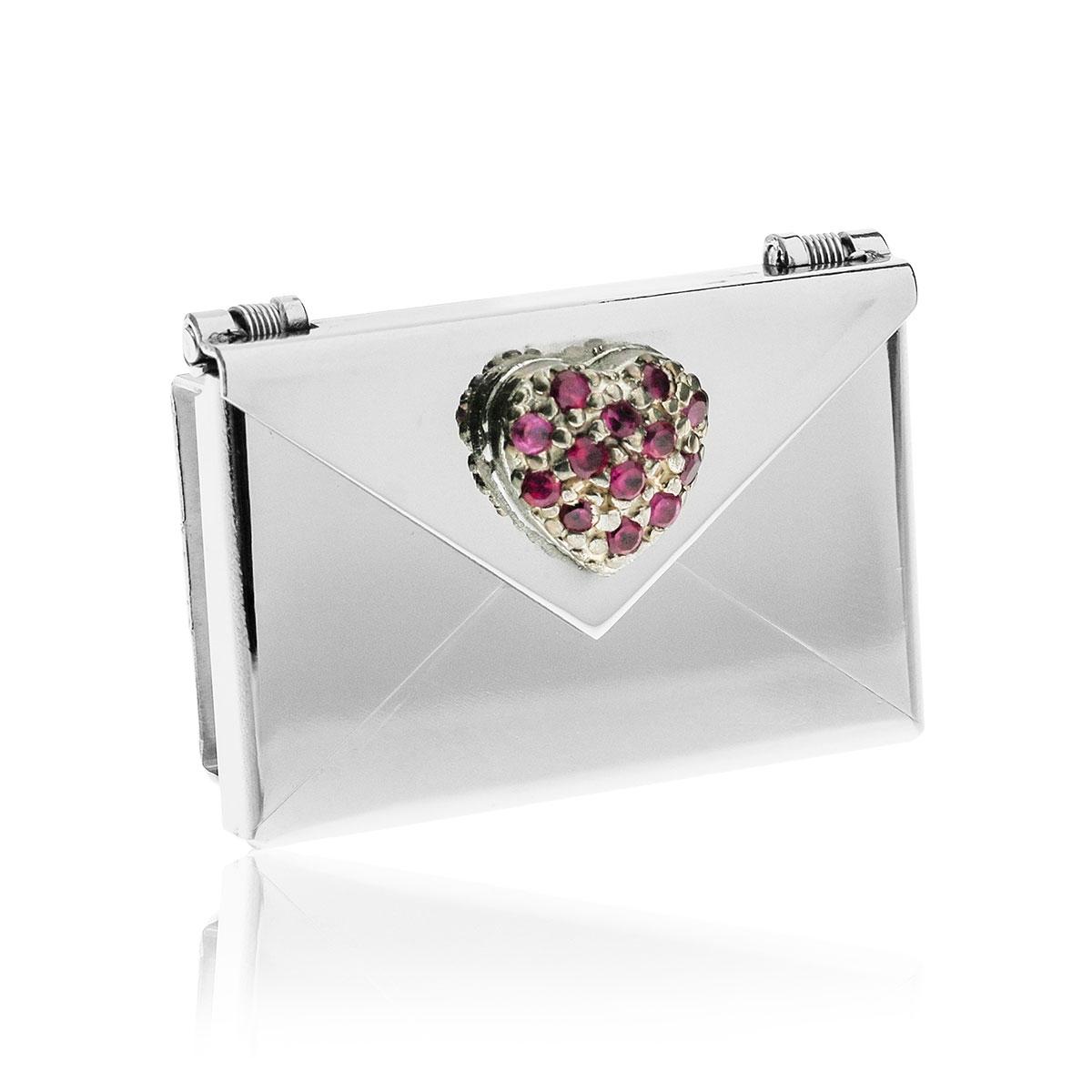 Love Letters Red CZ Heart Steel Envelope Locket LL-EV-007