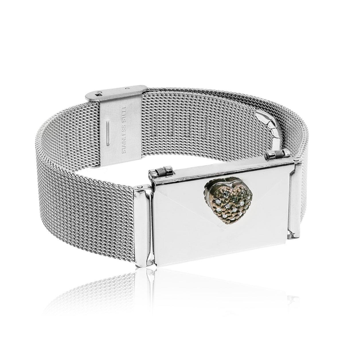 Love Letters CZ Heart Locket and Steel Bracelet Set