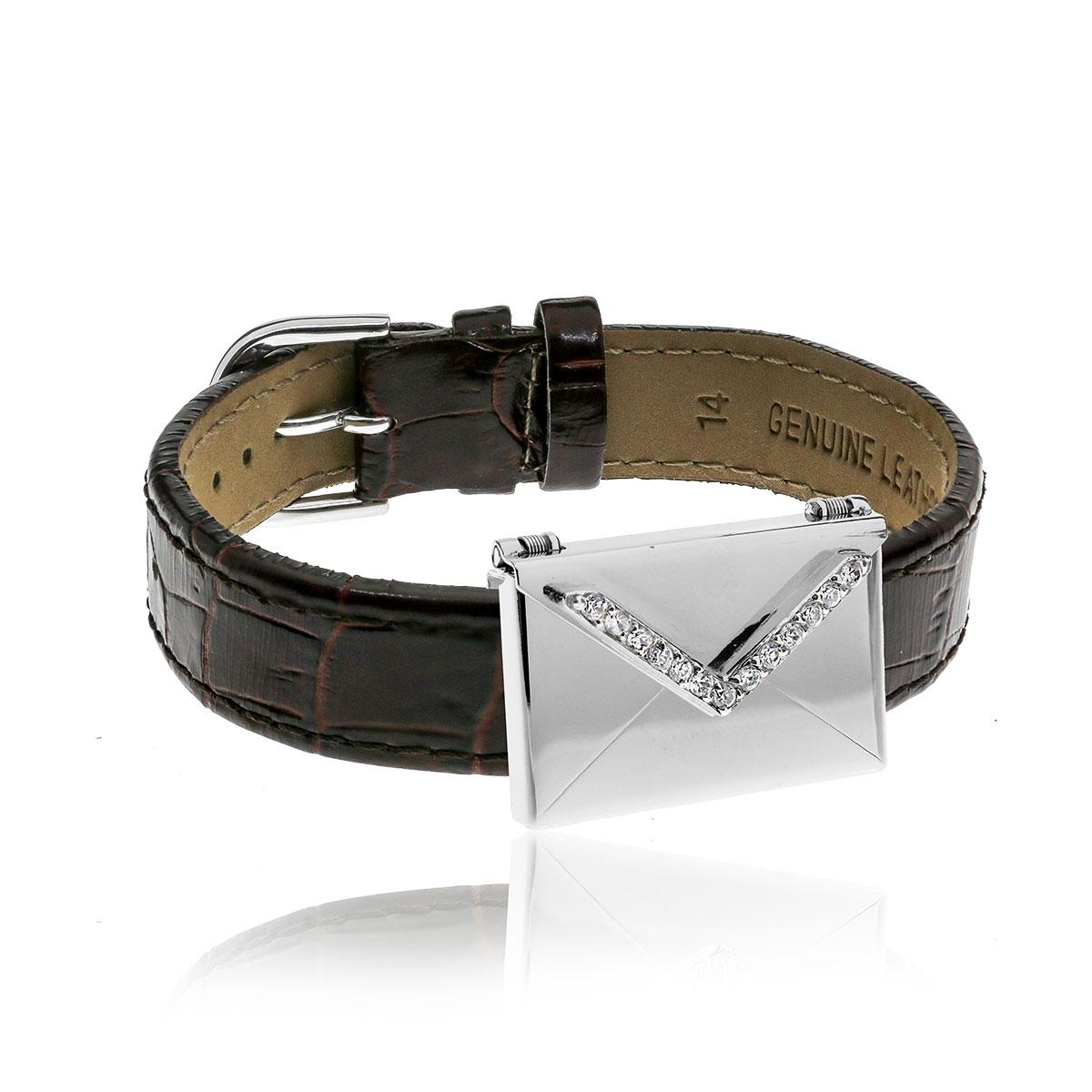 Love Letters CZ Envelope Locket & Burgundy Leather Bracelet Set LL-BRS-02-0011