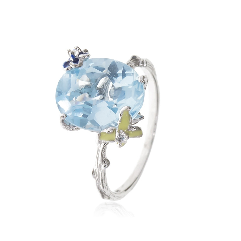Allure Sterling Silver Ring with Blue Topaz Oval Stone