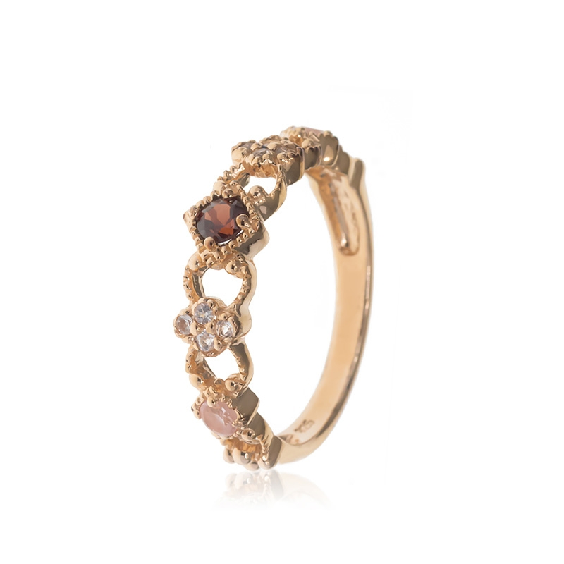 Allure Rose Gold Plated Rose Quartz, White Topaz & Garnet Band Ring