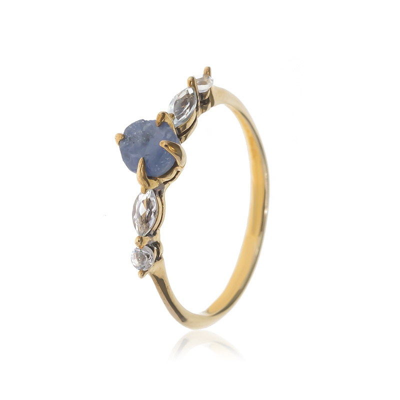 Allure Gold Plated Sapphire & White Topaz Ring