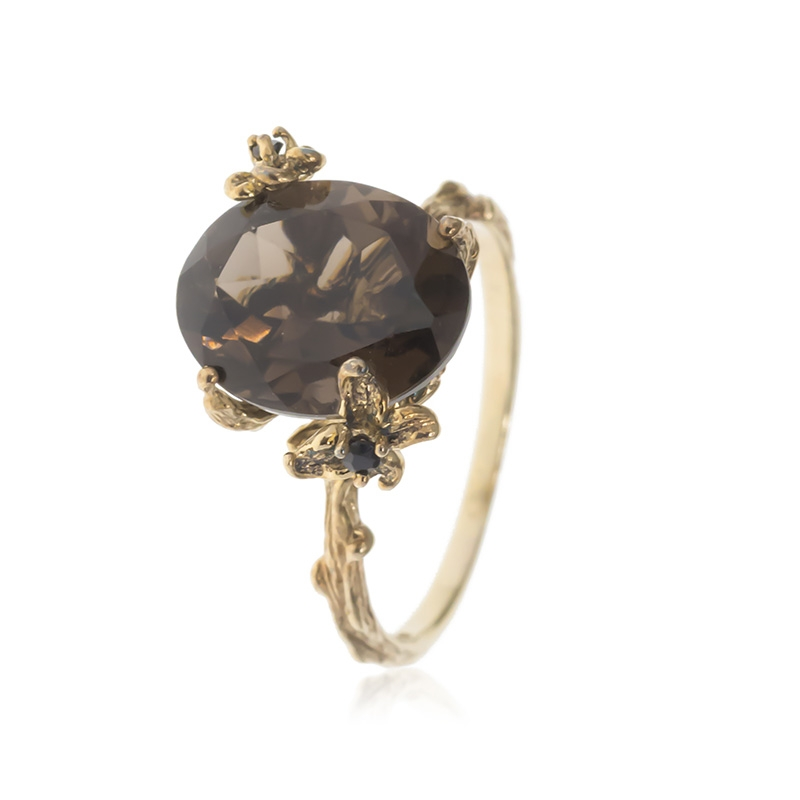 Allure Gold Plated Smokey Quartz Oval Stone Ring