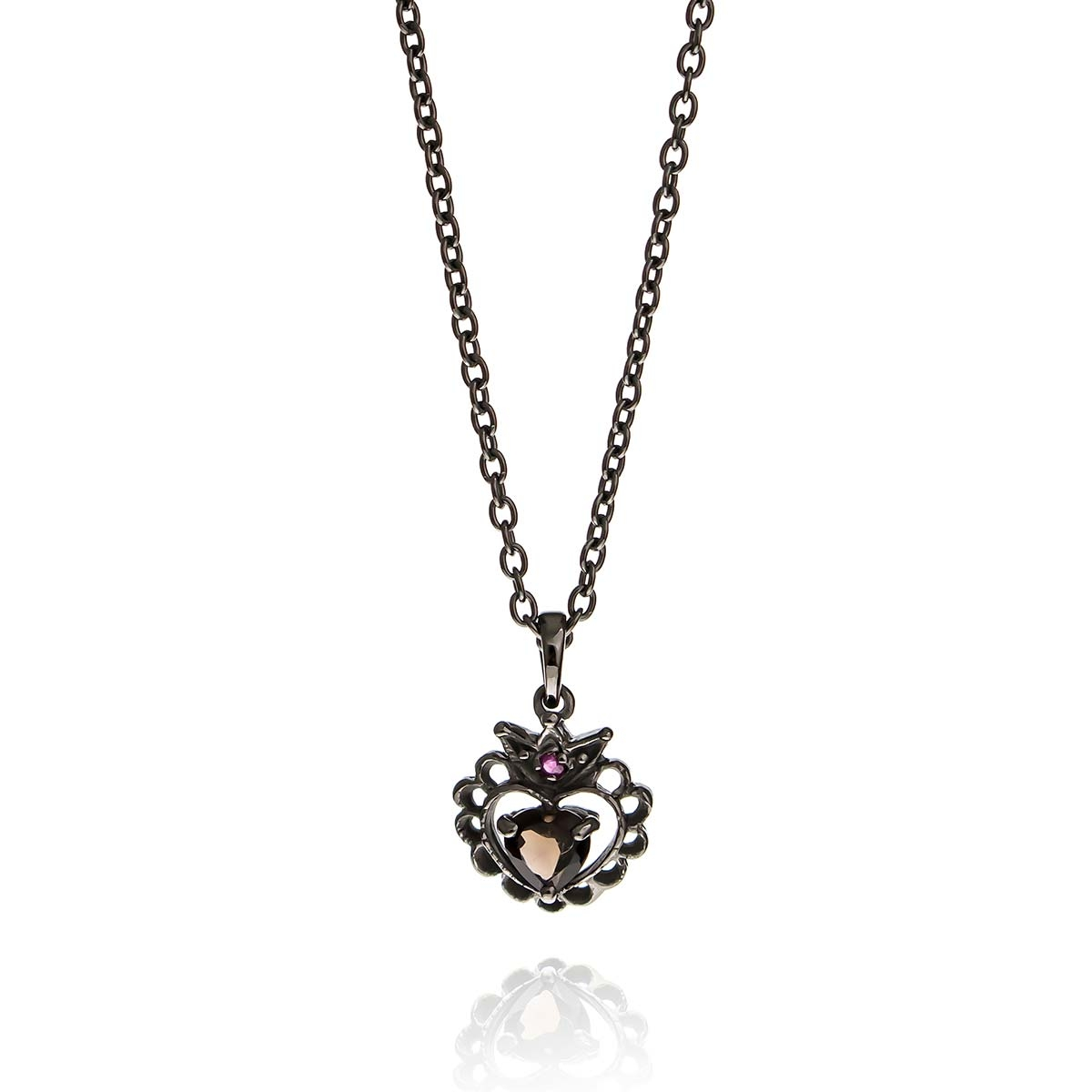 Allure Oxidised Plated Smokey Quartz Heart Crown Pendant Necklace