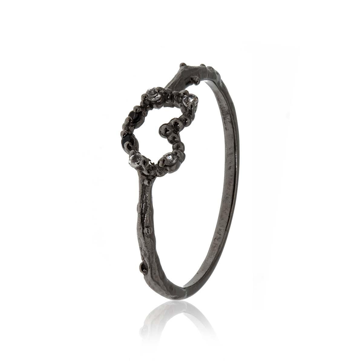 Allure Black Rhodium and White Topaz Heart Ring