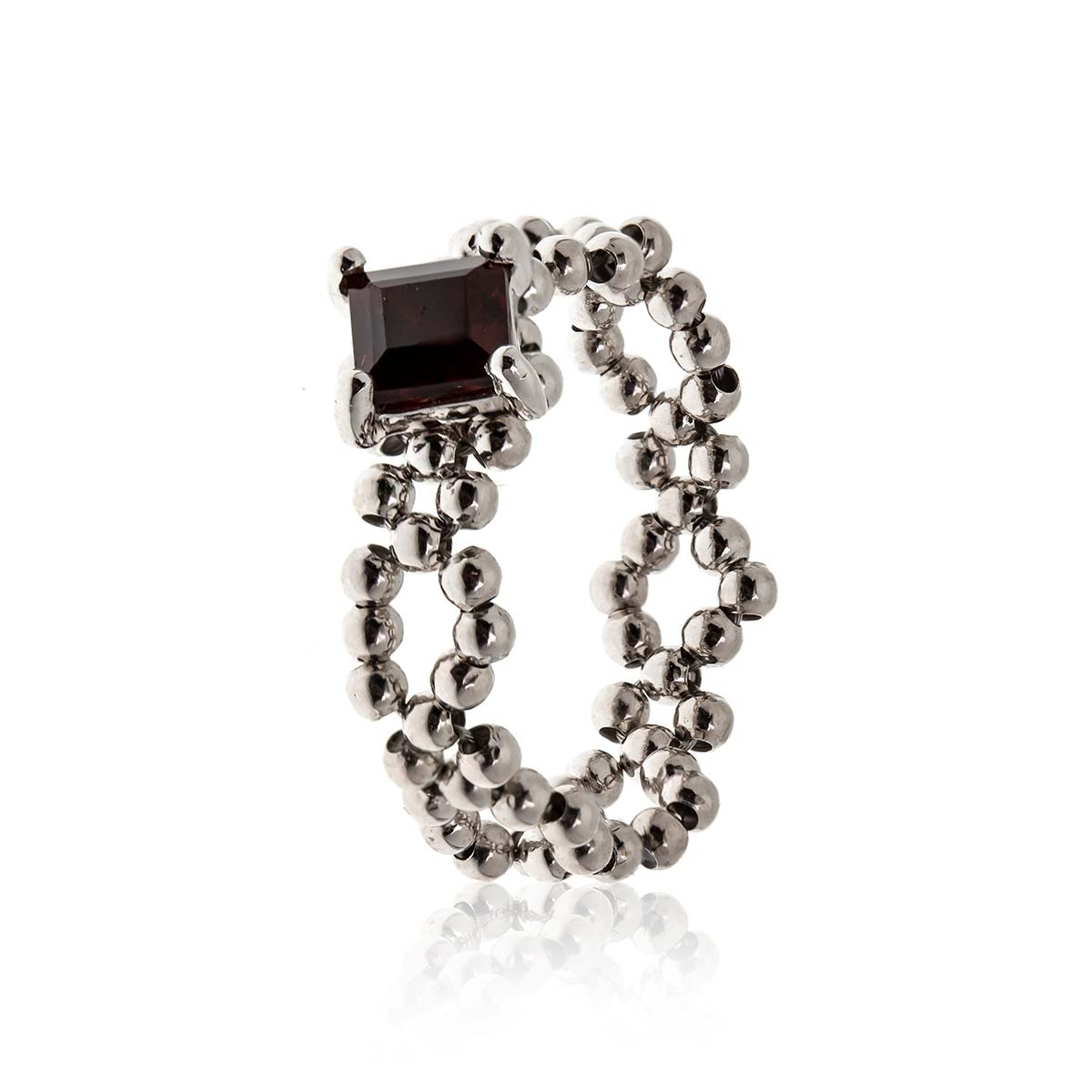 Allure Sterling Silver Chain Garnet Band Ring