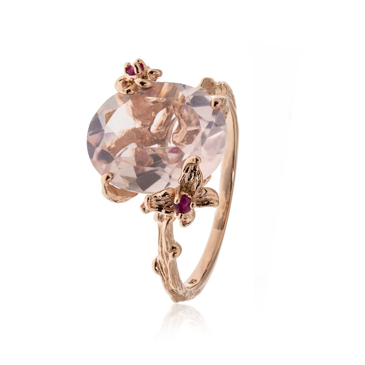 Allure Rose Gold Plated Rose Quartz & Rhodolite Ring