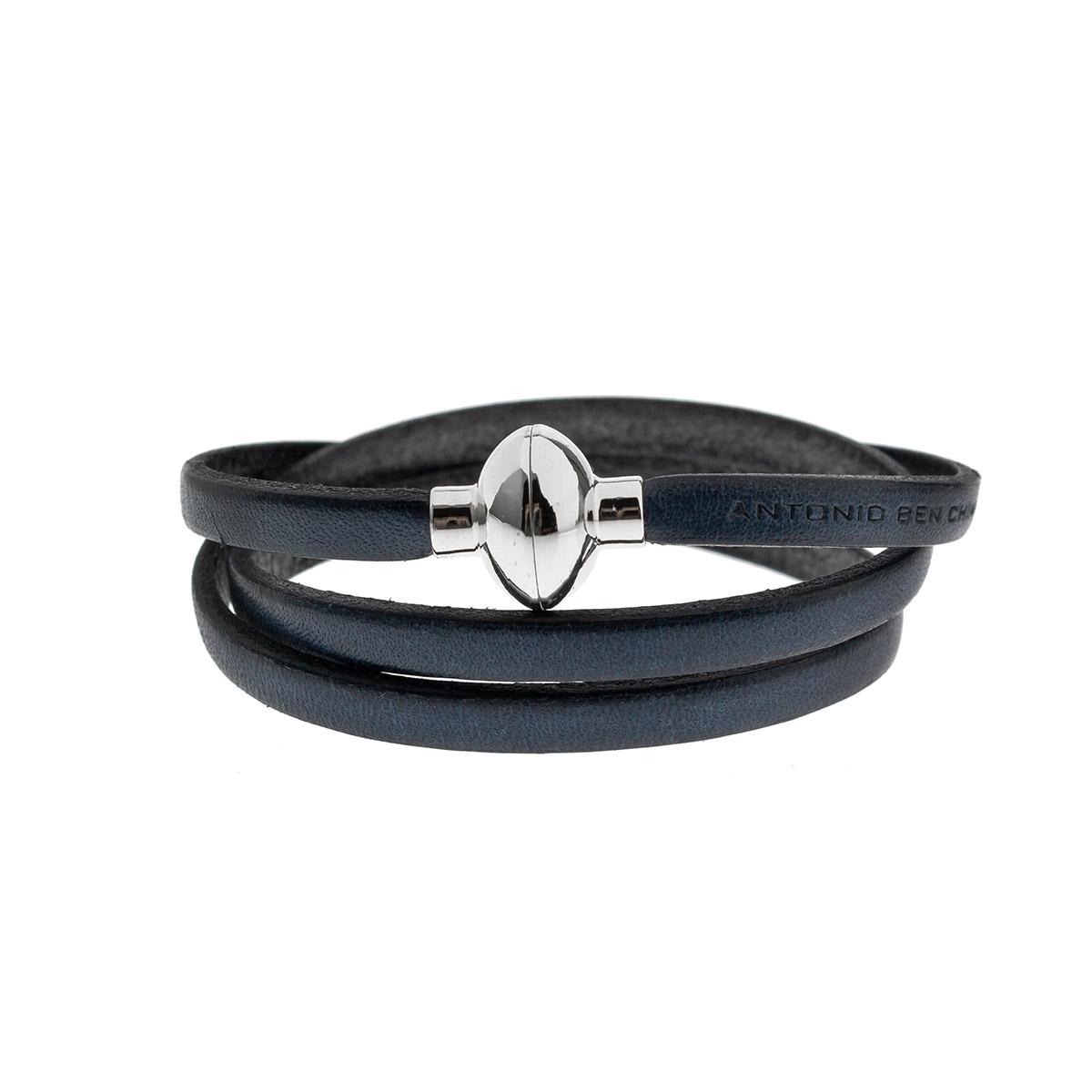 Antonio Ben Chimol Navy Blue Italian Leather Bracelet with Silver Clasp 11_AO_Silver