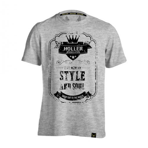 Holler Mitchell Grey Marl And Black T-Shirt