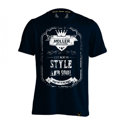Holler Mitchell Navy And White T-Shirt