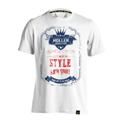 HOLLER Holler Mitchell White, Blue And Red T-Shirt