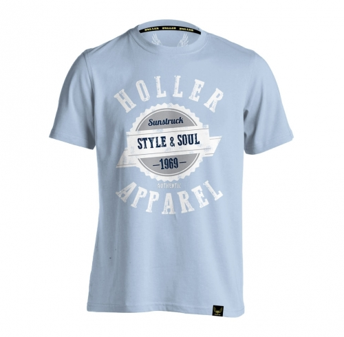 HOLLER Holler Sinbad Light Blue, White, Grey And Navy T-Shirt