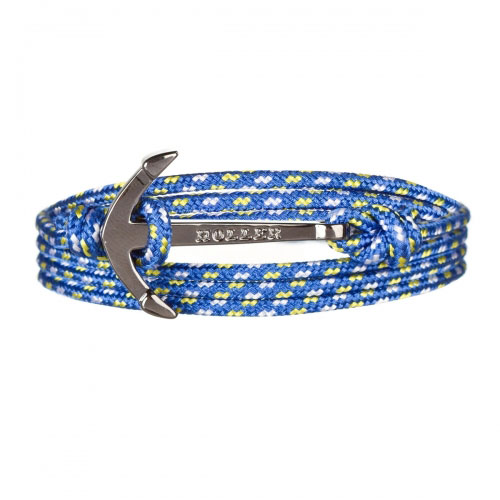Mosley  Black Polished Anchor / Blue, Yellow and White Paracord Bracelet