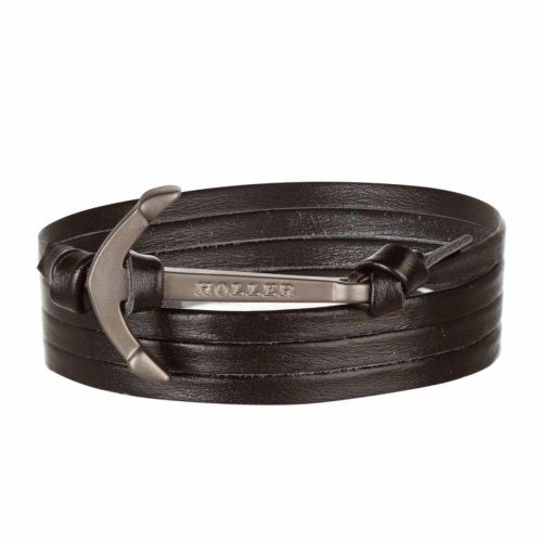Mosley  Black Sandblasted Anchor / Black Leather Bracelet