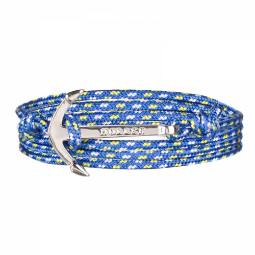 Mosley  Silver Polished Anchor / Blue, Yellow and White Paracord Bracelet