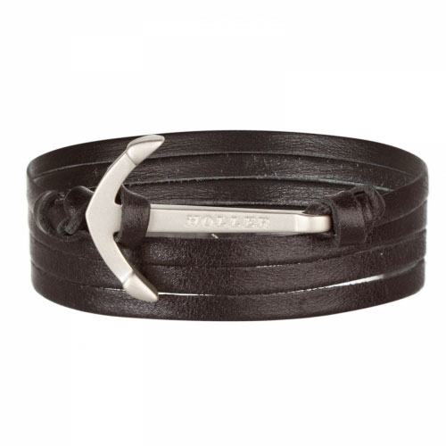 Holler Mosley  Silver Sandblasted Anchor / Black Leather Bracelet