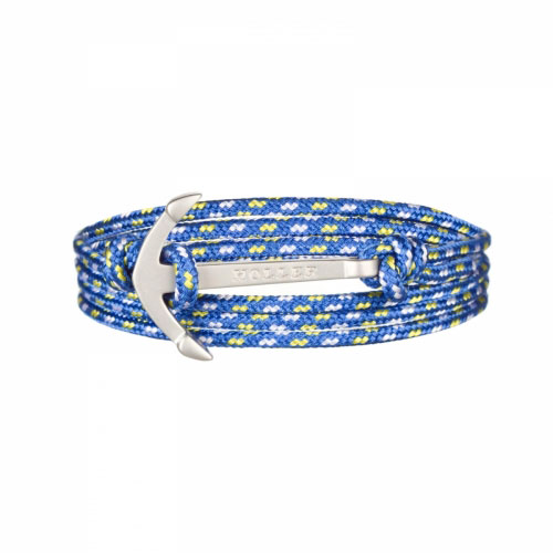 Mosley  Silver Sandblasted Anchor / Blue, Yellow and White Paracord Bracelet