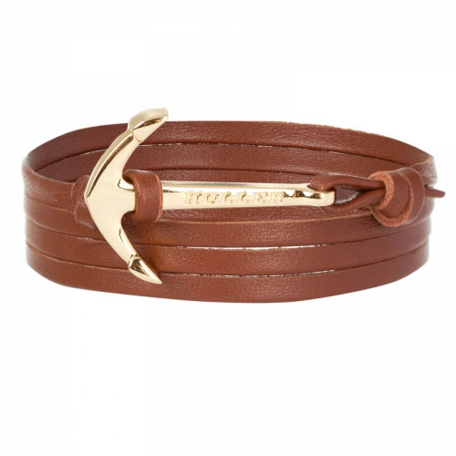 Holler Mosley  Gold Polished Anchor / Brown Leather Bracelet