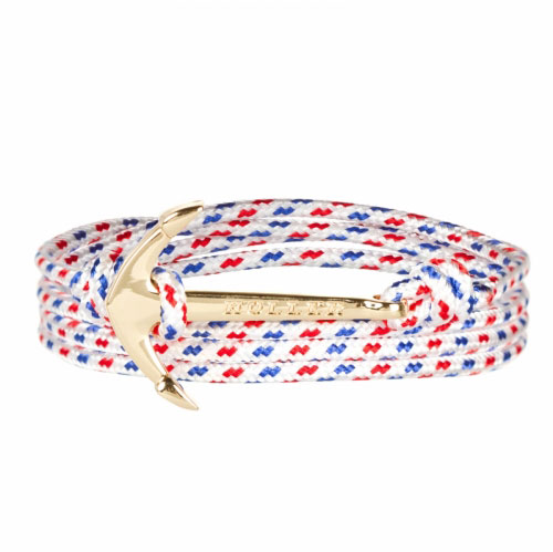 Holler Mosley  Gold Polished Anchor / White, Blue and Red Paracord Bracelet