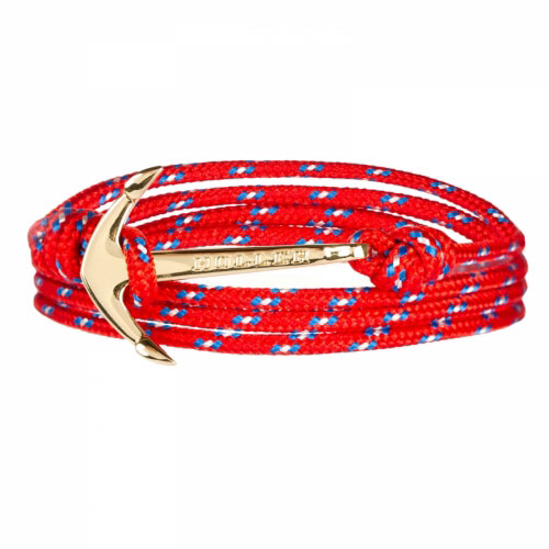 Mosley  Gold Polished Anchor /  Red, Blue and White Paracord Bracelet