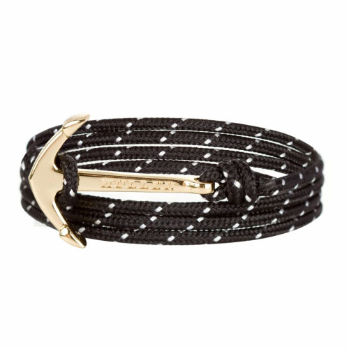 Mosley  Gold Polished Anchor / Black and White Paracord Bracelet