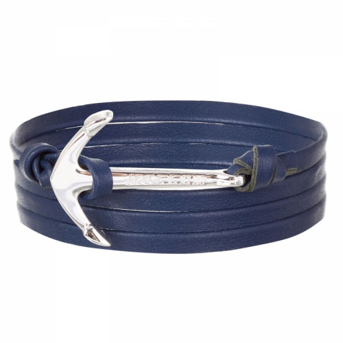Mosley  Silver Polished Anchor / Blue Leather Bracelet
