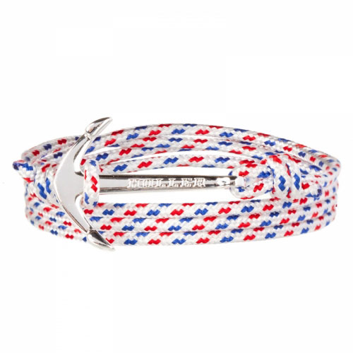 Mosley  Silver Polished Anchor / White, Blue and Red Paracord Bracelet