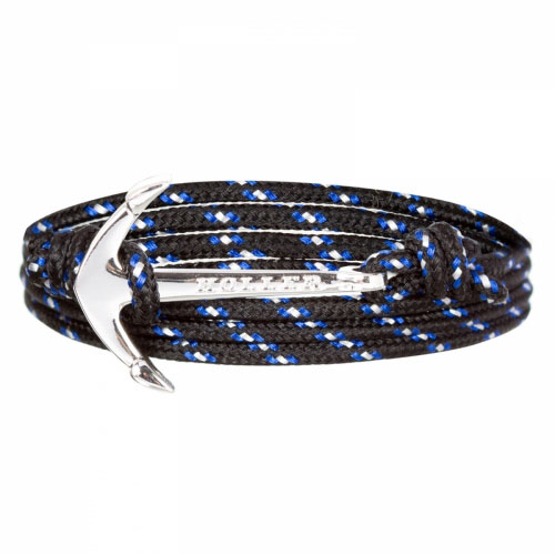 Holler Mosley  Silver Polished Anchor / Black, Blue and White Paracord Bracelet