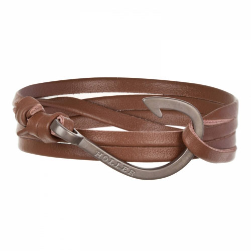 Kirby  Black Sandblasted Hook / Brown Leather Bracelet