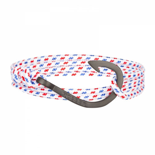 Kirby  Black Sandblasted Hook / White, Blue and Red Paracord Bracelet