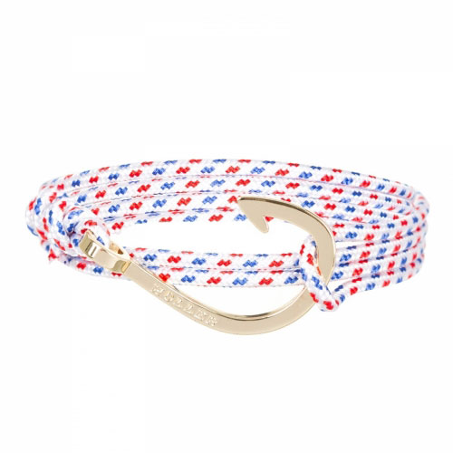 Holler Kirby  Gold Polished Hook / White, Blue and Red Paracord Bracelet
