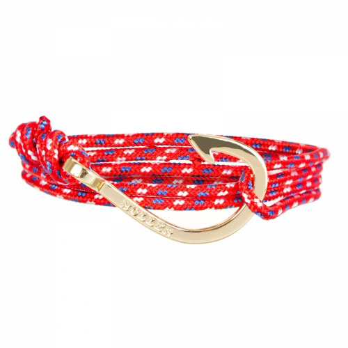 Kirby  Gold Polished Hook / Red, Blue and White Paracord Bracelet