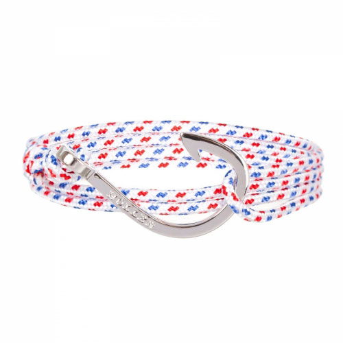Kirby  Silver Polished Hook / White, Blue and Red Paracord Bracelet