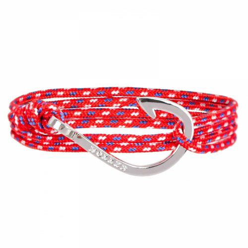 Holler Kirby  Silver Polished Hook / Red, Blue and White Paracord Bracelet