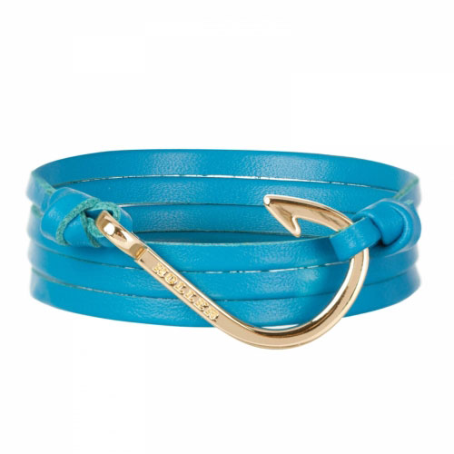 Kirby  Gold Polished Hook / Light Blue Leather Bracelet