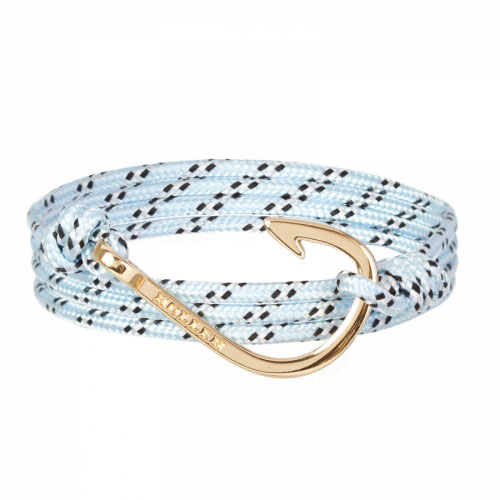 Kirby  Gold Polished Hook / Light Blue, Black and White Paracord Bracelet
