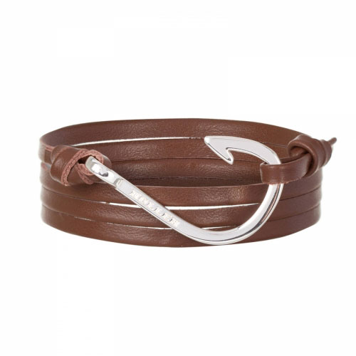 Holler Kirby  Silver Polished Hook / Brown Leather Bracelet