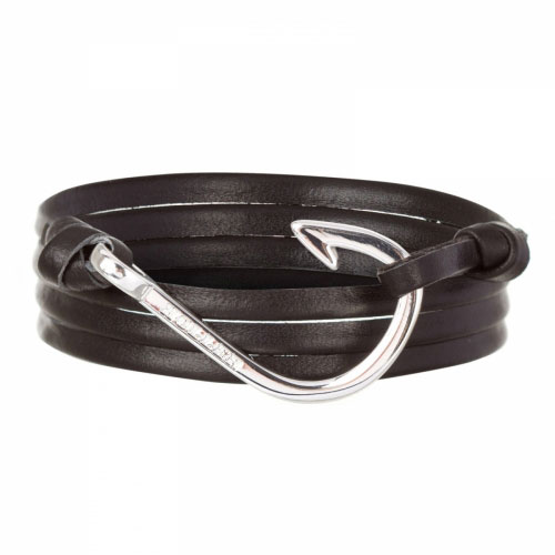 Holler Kirby  Silver Polished Hook / Black Leather Bracelet